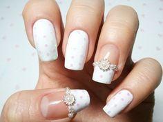 White French Manicure Style Bridal Nail Art.......