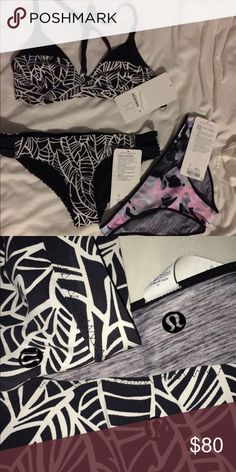 NWT Lululemon swim suit The top is a size 6 and racer back. Both bottoms are size 4 and the heather grey/multicolored ones are reversible. Both are slightly cheeky and super cute. Non of these have ever been worn, I purchased them as a gift for my sister but they were just a tad bit too small. 80$ for all three pieces lululemon athletica Swim Bikinis