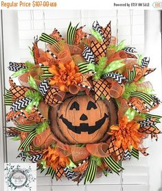 ON SALE Halloween Deco Mesh Wreath - Jack O'Lantern - Halloween Decor - Halloween Wreath - Door Decor - pinned by pin4etsy.com