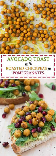 Avocado Toast Recipe with Roasted Chickpeas, Arugula, & Pomegranate Seeds #vegan #glutenfree | www.vegetariangastronomy.com