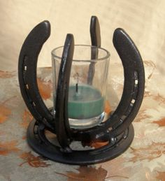 4-Point Horseshoe Candle Holder - Another twist on a Horseshoe Candle Holder - need to try this one, super cool.