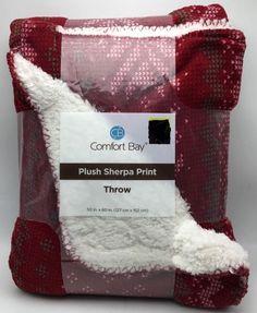 Sherpa Plush Fleece Throw Blanket Red White Winter Reversible 50 x 60 inch New #ComfortBay #Modern