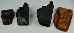 (4) LEATHER HOLSTER LOT - POLICE GUN AND CUFF HOLSTER - SPORT HOLSTER - WESTERN