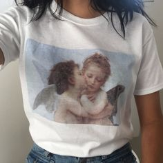 Dolland Womens Baby Angel Kiss Print Funny T-Shirt Summer Casual T-Shirts Round Neck Short Sleeve Top Tee Womens Fashion Online, Latest Fashion For Women, Baby Look Branca, Tumblr Mode, Lila Baby, Pajamas For Teens, Look Girl, Tumblr Fashion, Cute Tshirts