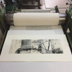 new work currently ✈️over the oceans to @portjacksonpressgallery for upcoming 'PROOF' exhibition 25 Nov-23 Dec. • Title 'From where I stand' • unique print...only one! Woodlitho/mokulito on gampi and mitsumata chine collé. 50 x 104cm #portjacksonpress #printmaking #daniellecreenaune #woodlitho #print #blackandwhite #studiovibes #printworkshop #forest #landscape #abstractlandscape #art #printstudio #wop #workonpaper #gampi #mokulito
