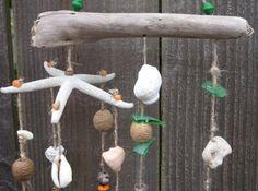 beach crafts sea sells and drift wood | Driftwood Shell Green-Orange Beach Mobile | BTownBeachArt - Novelty on ...