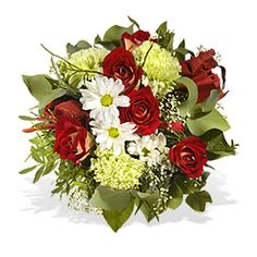 Verführung all italiana. Verschenken Sie mit Ciao Bella ein Stück italienischer Lebenslust und Leidenschaft. Rund gebundener Strauß in Rot-Weiß-Grün mit z.B. Rosen und Nelken, aufgelockert durch etwas Grün. Noch heute mit Fleurop Blumen verschicken.