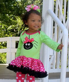 Look what I found on #zulily! Lime & Hot Pink Spider Tutu Bodysuit - Infant #zulilyfinds