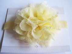 Light Yellow Lace Chiffon Baby Headband Infant by BirdyBows, $8.50