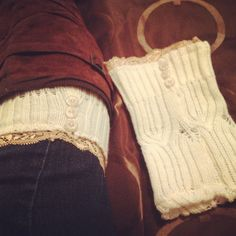 Boot socks toppers, made them from an old sweater that was too big! Cut off the sleeves, sewed them together, sewed on some elastic lace on top and added some buttons! So easy!! :)