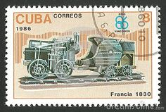 Cuba - CIRCA 1986: Stamp printed by Cuba, Multicolor memorable edition offset printing on the topic of railway, series devoted Locomotives, shows steam traction in France 1830