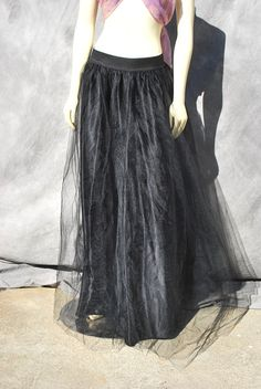 Vintage 80's GUNNE SAX long black tulle skirt Jessica Mcclintock black label skirt sM MINT by thekaliman