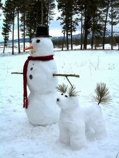 Snowman's Best Friend...I'll make this if we EVER get snow again!