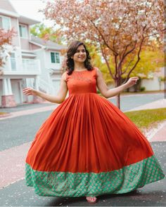 inbox to make orders if u wanna change ur old sarees to preety outfit. Indian Long Dress, Indian Gowns Dresses, Long Gown Dress, Frock Dress, Frock Fashion, Fashion Dresses, Long Gown Pattern, Frocks And Gowns, Long Dress Design
