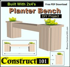 Planter Bench Plans Built With 2x4u0027s (free PDF