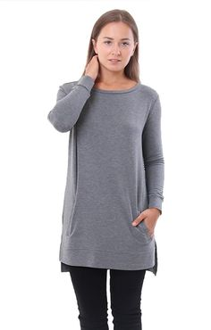 BB Dakota Sweaters Grey Jersey Tunic