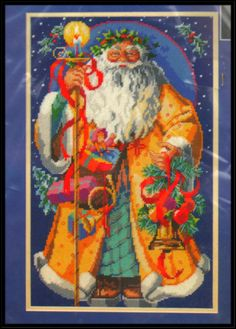 """VINTAGE 1996 BUCILLA """"FATHER CHRISTMAS"""" PICTURE OR PILLOW NEEDLEPOINT KIT"""