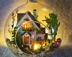 DIY iluminar miniatura 360 giratorio Dollhouse con caja de música | Caja de RevolvingMusic | kit de casa de muñecas | kits de muebles miniatura