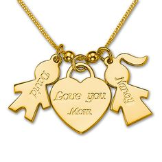 Gold Plated Love You Mom Heart Charm Pendant