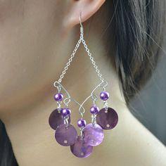 the final look of shell chandelier earrings