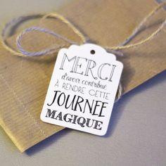 """Etiquettes américaines couleur IVOIRE """"Merci d'avoir contribué à rendre cette journée magique"""" x18  - étiquette remerciement mariage"""