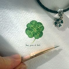 Day 2 Second piece -  four-leaf clover A small piece of luck.. Cute little wonder (20x21mm) // День 2. Четырёхлистник. Маленькое чудо  // #акварель #миниатюра #клевер #четырехлистник #рисунок #art #clover #quatrefoil #miniature #watercolor #painting #minimalism #botanicalart