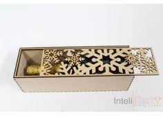 InteliCut: Caja para Vino con tapa Deslizable - Kichink  Christmas gift wine box  snowflakes