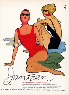 Illustration by René Gruau, 1958, Jantzen Swimwear.