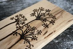Wildflowers- Woodburning on Maple Wood