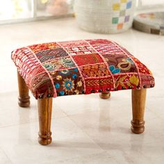 Footstools are placed at the center of traditional Indian homes for their ornate design and color. Rajasthani Embroidered Foot Stool | National Geographic Store