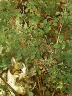 Bruno Liljefors (Suecia, 1860-1939). Cat Hunting Birds