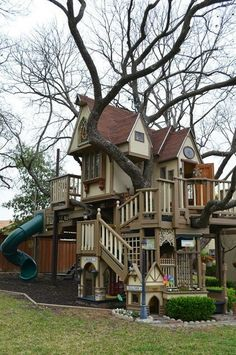 Treehouse swing set…wow!  It I had the money to hire and architect and a contractor to build it, I would have something like this in my yard.  I certainly have the tree for it!
