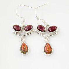 Genuine Garnet & Created Fire Opal Sterling Earrings. Starting at $1 on Tophatter.com!
