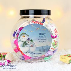 Personalised The Snowman and the Snowdog Blue Sweet Jar No Christmas would be complete without sweet treats from Santa! This The Snowman and the Snowdog Blue Sweet Jar is packed with delicious favourites they they're sure to enjoy. Christmas Morning, Christmas Snowman, Merry Christmas, Snowman And The Snowdog, Sweet Jars, Christmas Stocking Fillers, Jar Labels, Personalized Christmas Gifts, Christmas Greetings
