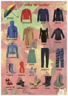 Ropa de Otoño - Spanish vocabulary for Autumn Clothes (Via V.