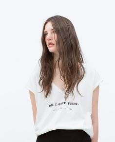 Image 2 of TEXT T-SHIRT from Zara