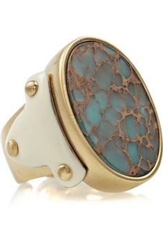 Roberto Cavalli Gold Plated Jasper Ring Jewelry
