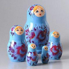 Blue Beauty Nesting Dolls