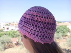 Crochet bandana sun hat blue white purple striped sport beanie festival men/'s women/'s unisex summer hat unique cotton kufi skull cap sunhat