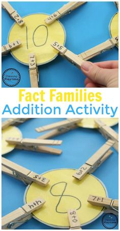 Fact Families Addition Activity for Kids. So fun! Fact Families Addition Activity for Kids. So fun! The post Fact Families Addition Activity for Kids. So fun! Teaching Math, Learning Activities, Family Activities, Summer Activities, Educational Activities For Kids, Kindergarten Learning, Children Activities, Montessori Activities, Back To School Activities Ks1