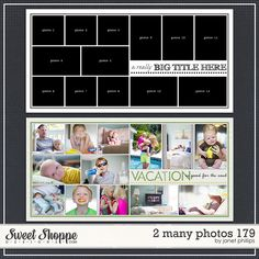 Sweet Shoppe Designs :: Templates & Tools :: Layout Templates :: 2 Many Photos 179 by Janet Phillips