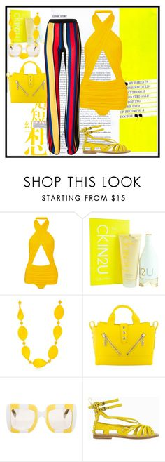 """""""Remove Flop Flip Clone Forwards Backwards Custom...Norma Kamali Mio ruched swimsuit Enter contest Save Draft Open New       WomenMenHomeMy ItemsCollectionsContest CONTEST color : YELLOW"""" by nefertiti1373 ❤ liked on Polyvore featuring Norma Kamali, Calvin Klein, Kim Rogers, Kenzo, Dolce&Gabbana, Balmain and Philosophy di Alberta Ferretti"""