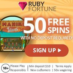 Ruby Fortune is a well-established casino that delivers over 450 games, all available instantly. Sign up and get in on the 50 free spins on sign up plus get even more when you deposit with a bonus up to €750 in total!  No Deposit Bonus: 50 Free Spins on Mahiki Island slot 1st deposit – 100% match welcome bonus up to 250 euros  2nd deposit –  100% match welcome bonus up to 250 euros  3rd deposit –  100% match welcome bonus up to 250 euros   #RubyFortune #FreeSpins #Microgaming #NoDepositBonus Mega Moolah, Aces And Eights, Best Casino Games, Class Games, Casino Reviews, Mobile Casino, Time Games, Video Poker, Games