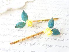 Ruffled Rose Leaf Hair Pins - Verdigris Leaf Bobby Pins - Minty Blue Leaf Hair Pins - Yellow Rose Hair Pin Set - Woodland Leaf Hair Pins by NestingPretty #TrendingEtsy