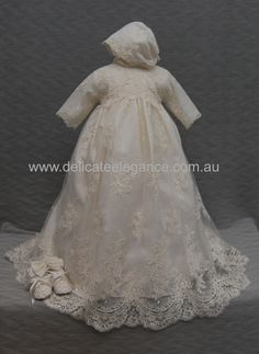 4260: Girls' Ivory Lace Christening Gown