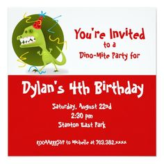 Red Dinosaur Birthday Party Invitations