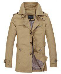 Turn-Down Collar Epaulet Single Breasted Long Sleeve Trench Coat For Men (LIGHT KHAKI,M) | Sammydress.com Mobile