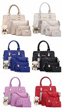Soperwillton Women Bag Luxury Handbags Shoulder Patchwork Crossbody Messenger Women's Bag 4 Pieces Female Bolsa Feminina 1122 is part of fashion Photography Casual Ripped Jeans - Set In… Luxury Handbags, Fashion Handbags, Purses And Handbags, Fashion Bags, Leather Handbags, Fashion Backpack, Fashion Women, Women's Bags, Pink Tote Bags