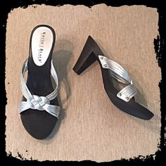 """⚡️BOGO 1/2 off⚡️WHBM silver leather heeled sandals Size 7.5, true to size. Light, wooden-like bottom. Heel measures approx 3."""" Barely worn- excellent condition! (Very slight mark, see last pic.) Bundle to save! NO TRADES, no modeling. REASONABLE offers welcome via offer button. White House Black Market Shoes"""
