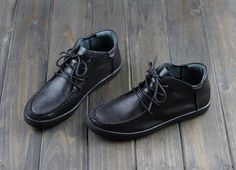Handmade Women Leather ShoesOxford Soft Shoes Flat Shoes Black Leather Shoes by HerHis